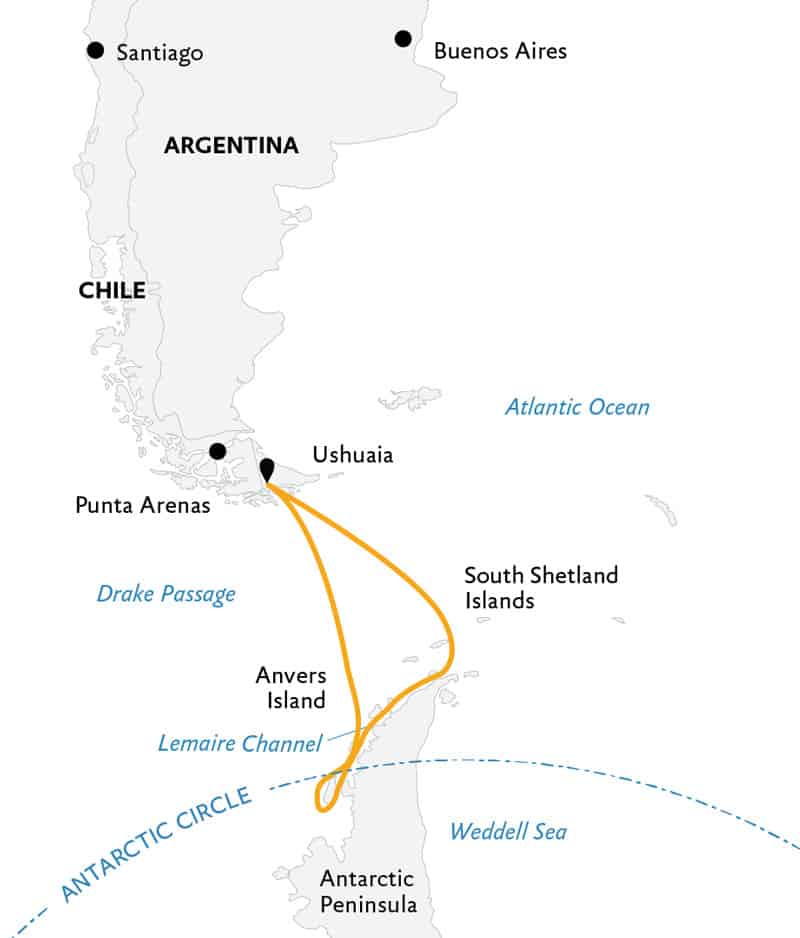 Route map of Crossing the Antarctic Circle Antarctica small ship cruise, operating round-trip from Ushuaia, Argentina.