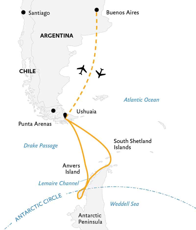 Route map of Crossing the Antarctic Circle Antarctica small ship cruise, operating round-trip from Buenos Aires, Argentina.
