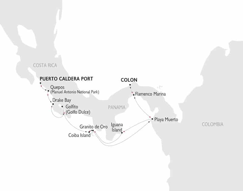 Crossing the Panama Canal: Costa Rica to Panama Itinerary route map.