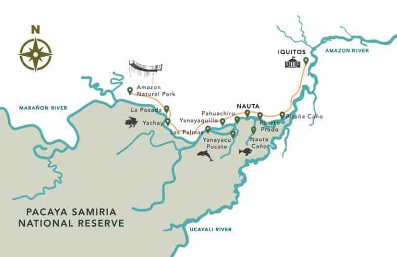 Route map of Delfin I 4-Day High-Water Amazon River Cruise, operating round-trip from Iquitos, Peru, with visits to Fundo Casual, Nauto Cano, Las Palmas, Yanayacu Pucate, Amazon Natural Park, Yachay, Yanayaquillo, Piranha Creek & the Rescue & Rehabilitation Center of River Mammals.