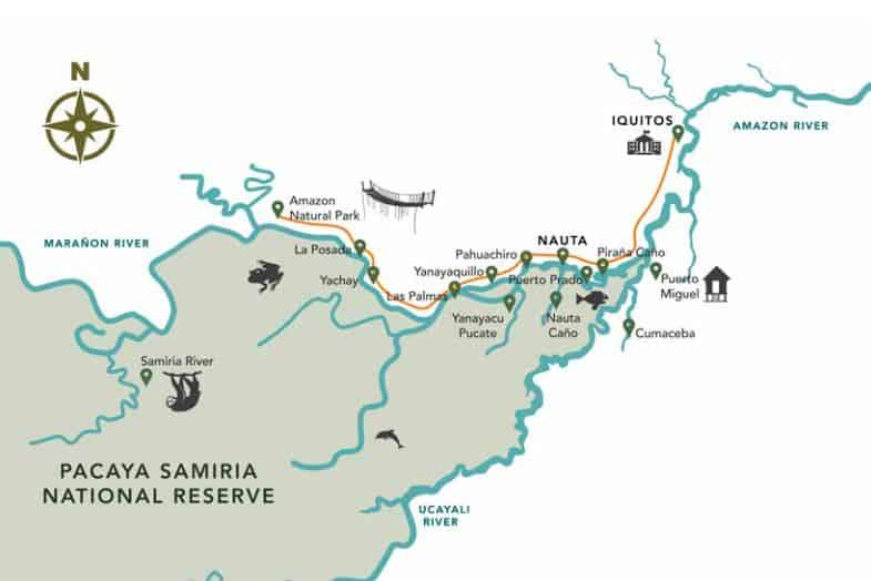 Route map of Delfin I 5-Day High-Water Amazon River Cruise, operating round-trip from Iquitos, Peru, with visits to Fundo Casual, Nauto Cano, Yanayacu Pucate, Yachay, Amazon Park, Yanayquillo, Cumaceba, the village of Puerto Miguel & the Rescue & Rehabilitation Center of River Mammals.