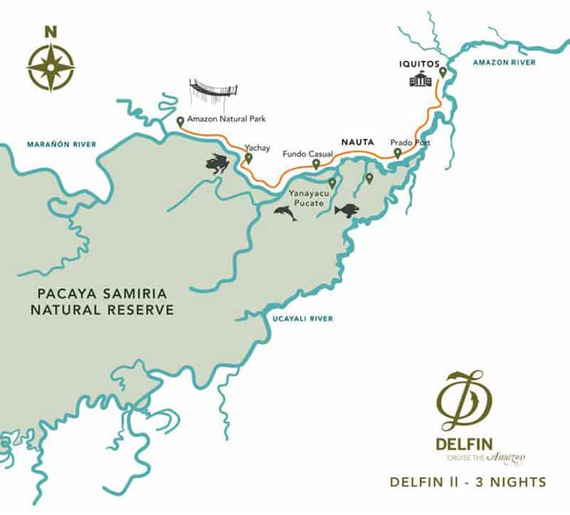 Route map of Delfin II 4-Day Low-Water Amazon River Cruise, operating round-trip from Iquitos, Peru, with visits to the Maranon River, Fundo Casual, Yanayacu Pucate, Yachay, Amazon Natural Park, Puerto Prado, the Amazon Confluence & the Rescue & Rehabilitation Center of River Mammals.