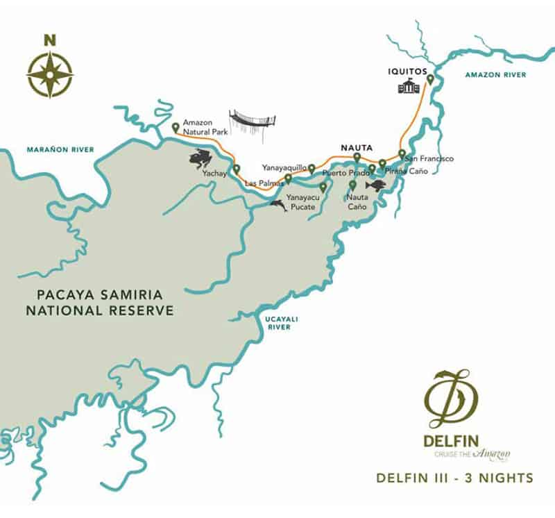 Route map of Delfin III 4-Day High-Water Amazon River Cruise, operating round-trip from Iquitos, Peru, with visits to Fundo Casual, Las Palmas, Yanayacu Pucate, Yanayaquillo, Yachay, the Amazon Confluence & the Rescue & Rehabilitation Center of River Mammals.