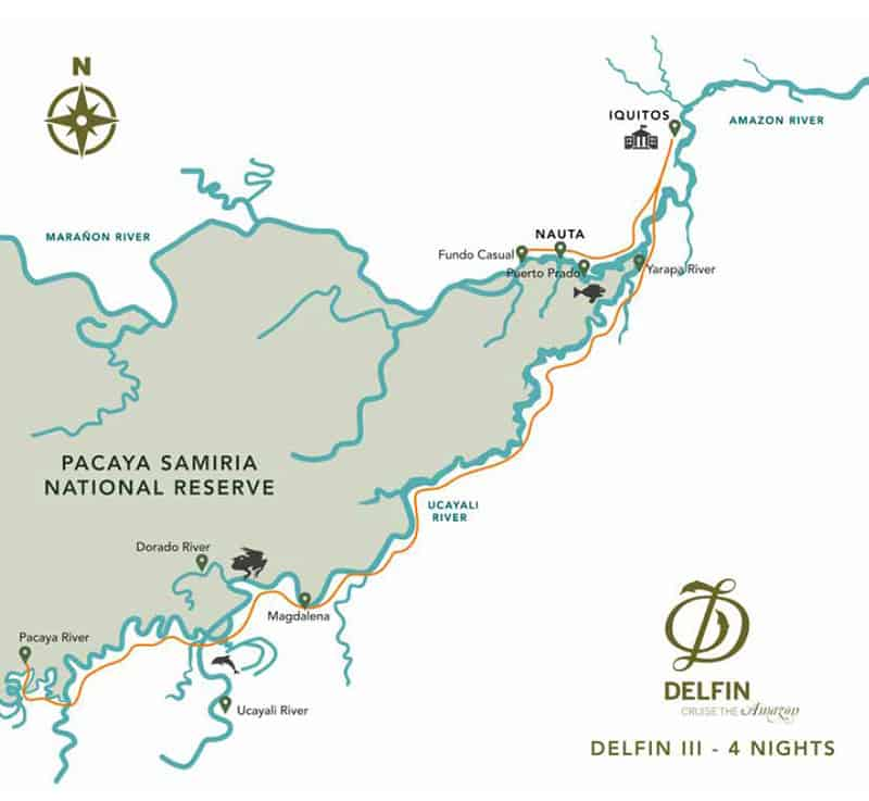 Route map of 5-Day High-Water Delfin III Amazon River Cruise, operating round-trip from Iquitos, Peru, with visits to Pahuachiro, Yanallpa, the Dorado River, the Pacaya River, Magdalena, the Yarapa River, Fundo Casual & the Rescue & Rehabilitation Center of River Mammals.