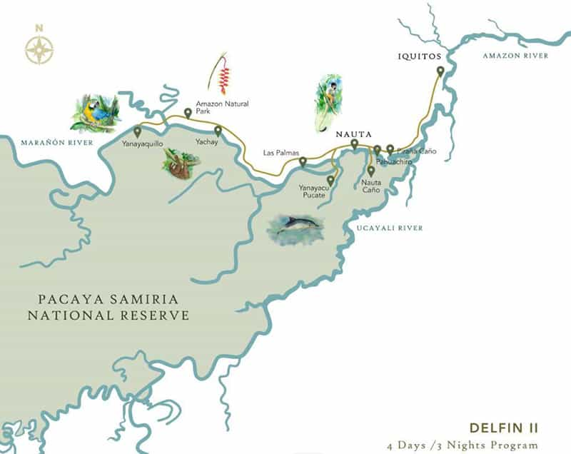 Route map of Delfin II 4-Day Amazon River Cruise, operating round-trip from Iquitos, Peru, with stops at Las Palmas, Yanayacu Pucate, Yanayaquillo, Yachay, Amazon Natural Park, Piranha Creek & the Rescue & Rehabilitation Center of River Mammals.