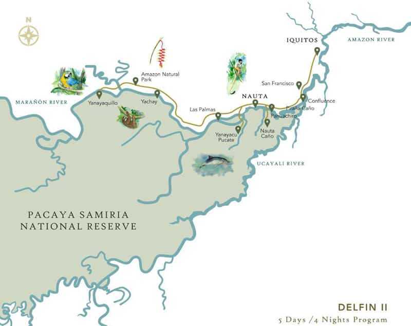 Route map of Delfin II 5-Day Amazon River Cruise, operating round-trip from Iquitos, Peru, with stops at Las Palmas, Yanayacu Pucate, Yanayaquillo, Yachay, Amazon Natural Park, Palm Forest, the Samiria River, the Amazon Confluence, San Francisco, Piranha Creek & the Rescue & Rehabilitation Center of River Mammals.