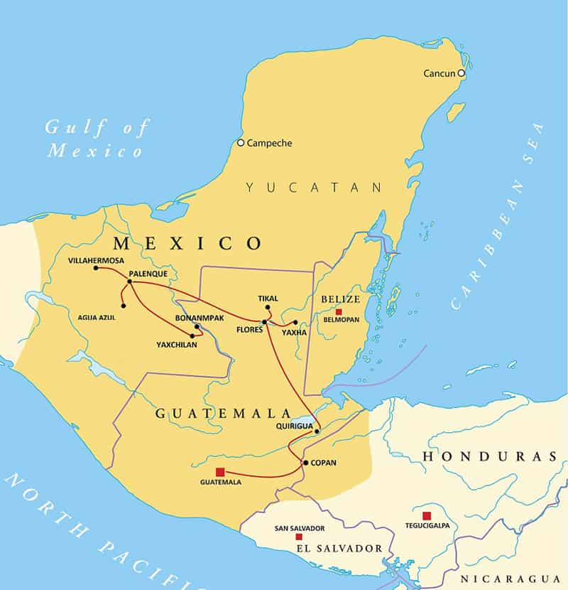 Route map of Grand Maya Escape land tour, operating from Guatemala City to Villahermosa, Mexico, with visits to sites representing classic and post-classic Maya civilization in Mesoamerica, including Copan, Honduras, Quiriqua, Tikal National Park, Yaxha, Palenque & Agua Azul, Bonampak, Yaxchilan.
