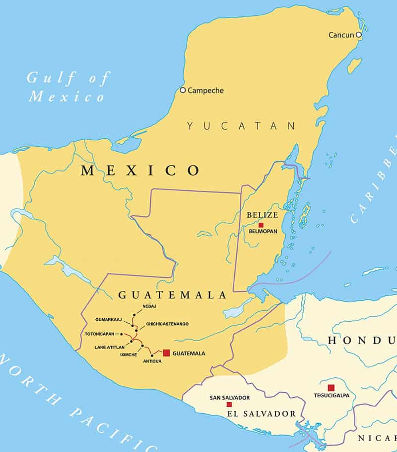 Route map of Guatemala Highlands Explorer land tour, operating round-trip from Guatemala City with highlights of classic and post-classic Maya civilization in Mesoamerica including Antigua, Iximche & Xetonox, Totonicapan, San Juan, Chichicastenango & Nebaj.