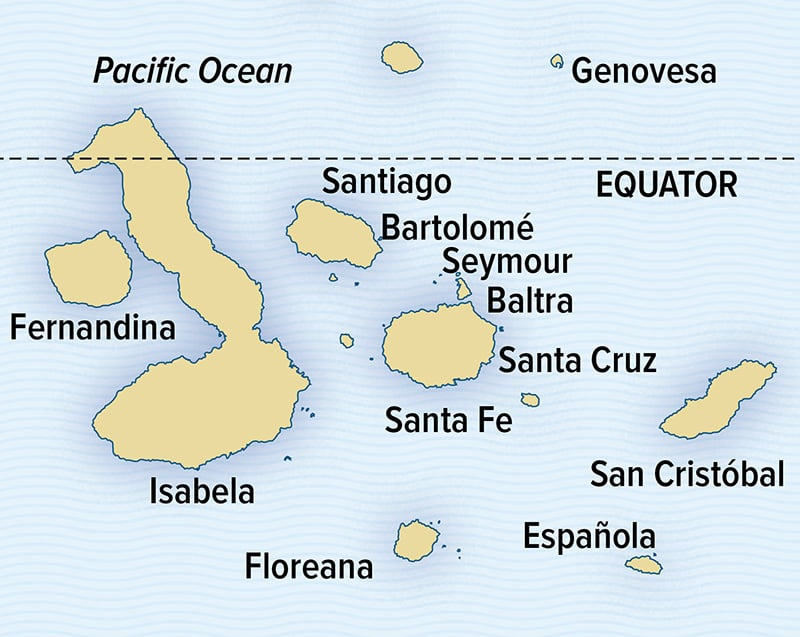 Map showing the main islands of the Galapagos Archipelago.