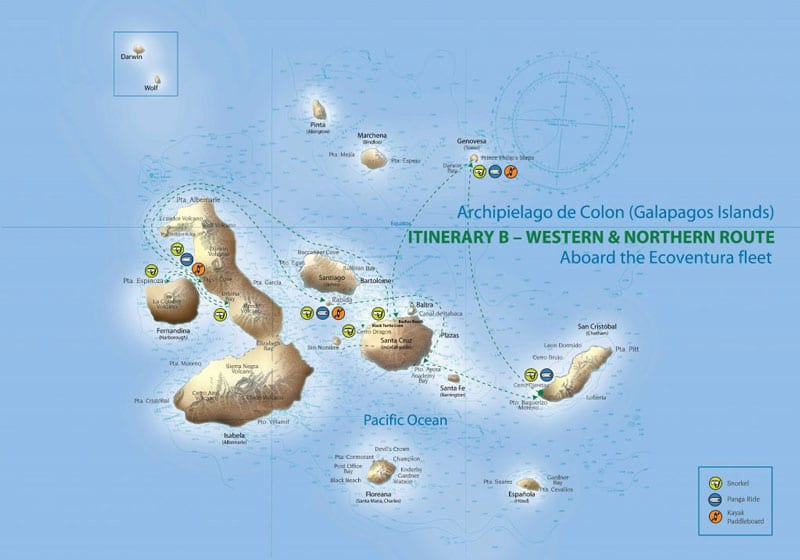 Route map of Origin, Theory, Evolve & Letty Galapagos Cruises 8-day West itinerary, operating roundtrip from San Cristobal Island with visits to San Cristobal, Genovesa, Isabela, Fernandina, Santiago and Santa Cruz islands.