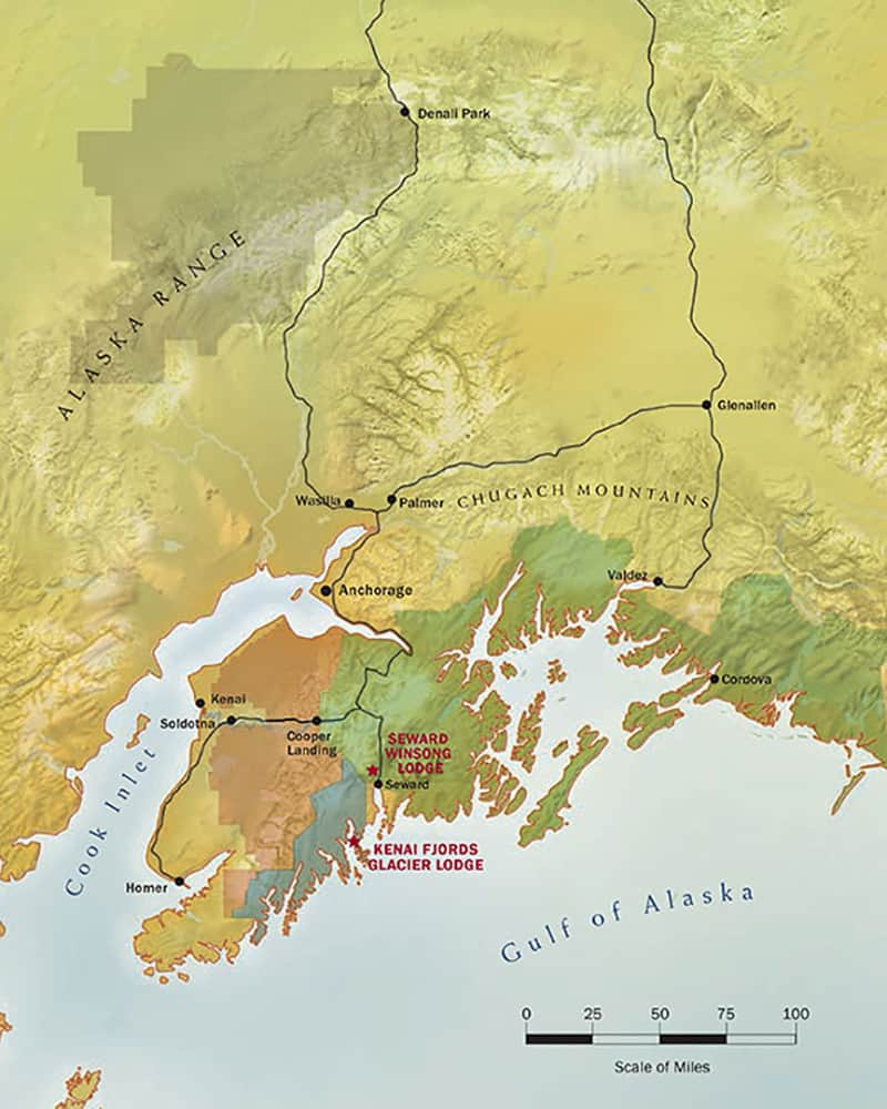 Route map of Kenai Fjords Backcountry Explorer Alaska land tour, operating round-trip from Anchorage with visits around the Kenai peninsula and national park.