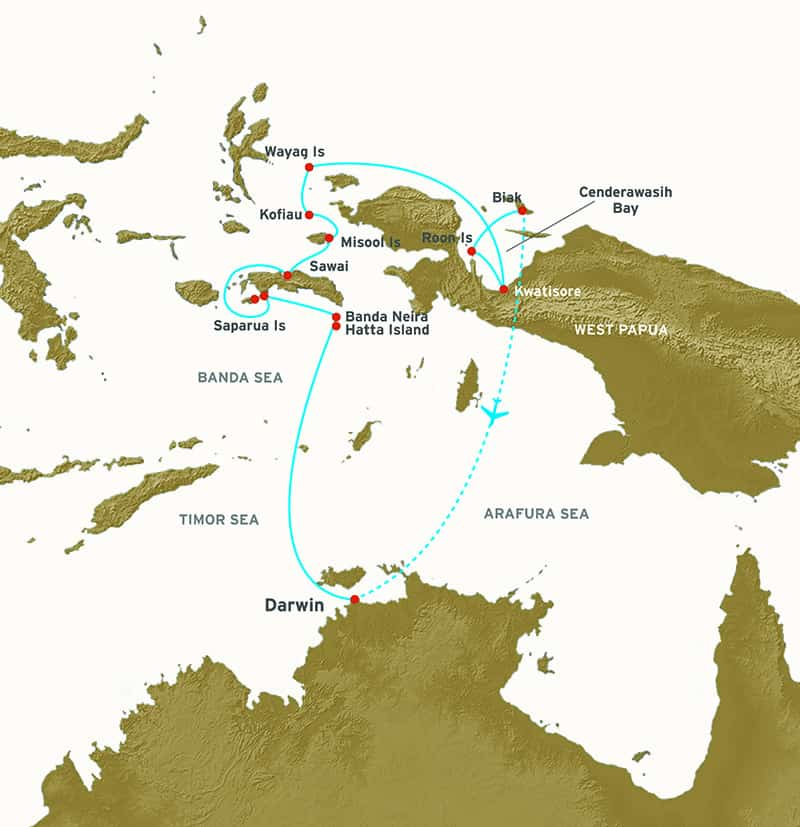 Route map of main Spice Islands & Raja Ampat small ship cruise, operating between Darwin, Australia and Biak, West Papua, Indonesia, with visits to Banda Neira, Spice Islands, Molana & Saparua Islands,Seram Island, Misool, Kofiau Island, Wayag Island, Cenderawasih Bay & Kwatisore Village.