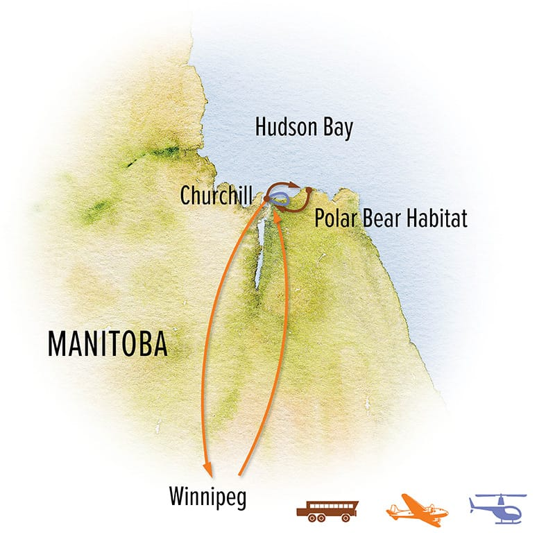 Route map of 7-day Ultimate Churchill Polar Bear Adventure, operating round-trip from Winnipeg, Manitoba, Canada, with visits to polar bear habitat near Churchill and Hudson Bay.
