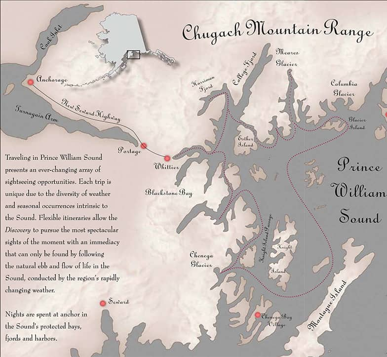 Prince William Sound Discovery route map.