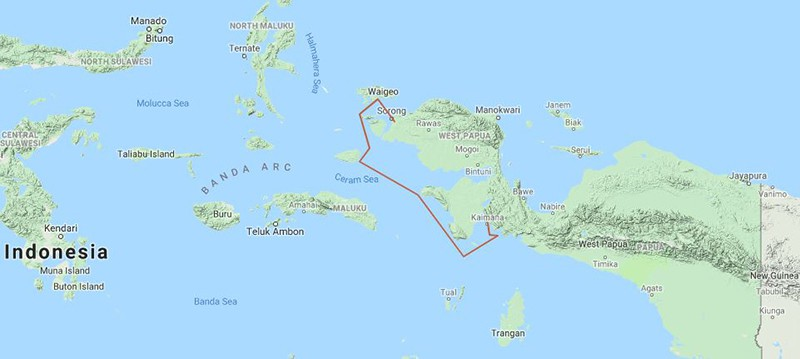 Route map of Papua's Whale Sharks & Birds of Paradise Indonesia small ship cruise, with visits along the southern coast of West Papua, in the Ceram Sea.