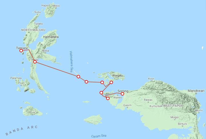 Route map of Indonesia's Exquisite Birds of Paradise small ship cruise, operating between Ternate and Sorong with visits to the islands of Halmahera, Gebe, Kofiau, Gam, Mioskon, Waigeo, Mansuar, Batanta & Salawati