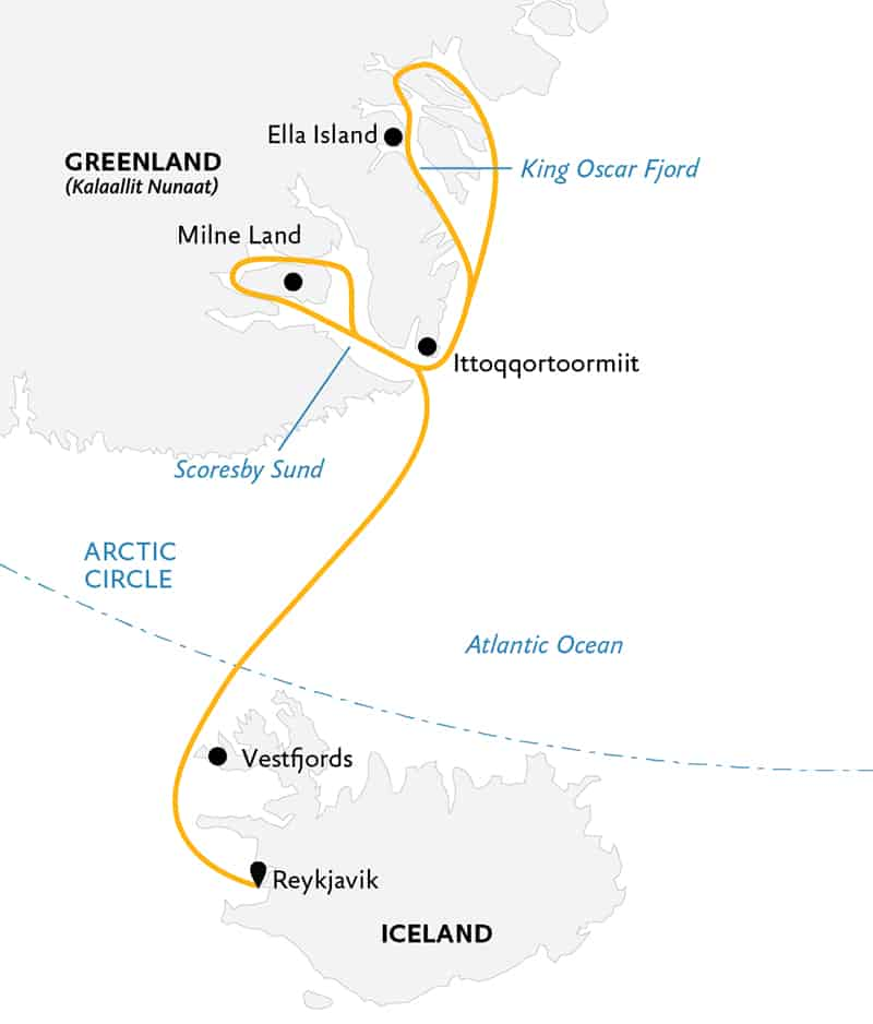 Route map of Under the Northern Lights Arctic small ship expedition, operating round-trip from Reykjavik, Iceland, with stops along the Vestfjords and southeast Greenland's Ittoqqortoormilt, Milne Land & Ella Island.