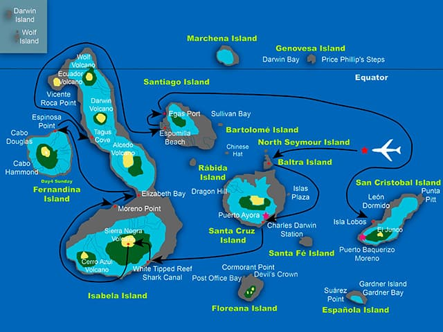 Galapagos cruise route map showing visits to Santa Cruz, Isabela, Fernandina, Santiago and San Cristobal islands.