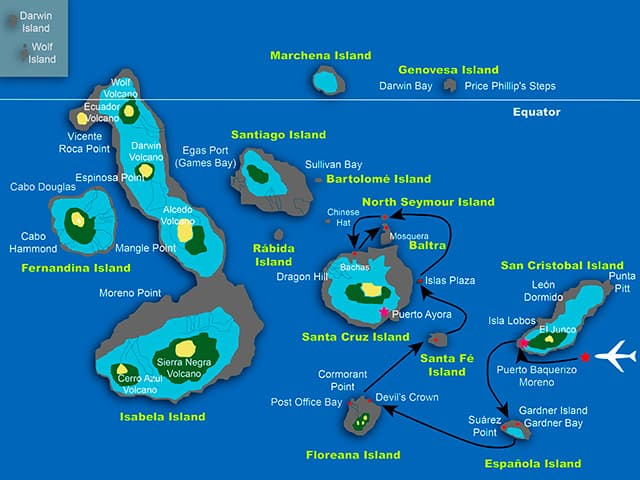 Galapagos cruise route map showing visits to San Cristobal, Espanola, Floreana, Santa Fe, Santa Cruz and Baltra islands.