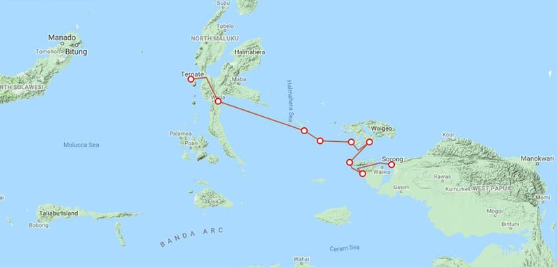 Route map for small ship cruise Sailing Indonesia: the Spice Islands Exquisite Birds of Paradise alternative itinerary between Ternate and Sorong with stops at Halmahera, Gebe, Kofiau, Raja Ampat, Gam, Mioskon, Waigeo, Batanta and Salawati.