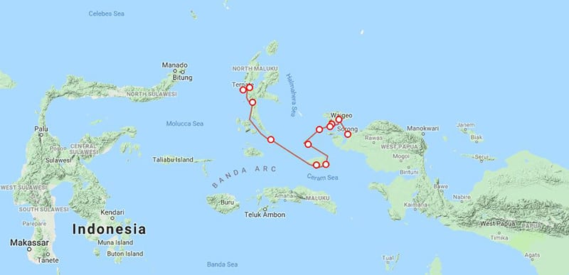 Route map for small ship cruise Sailing Indonesia: the Spice Islands main and reverse itinerary between Ternate and Sorong with stops at Halmahera, Raja Ampat, Gam and Waigeo.
