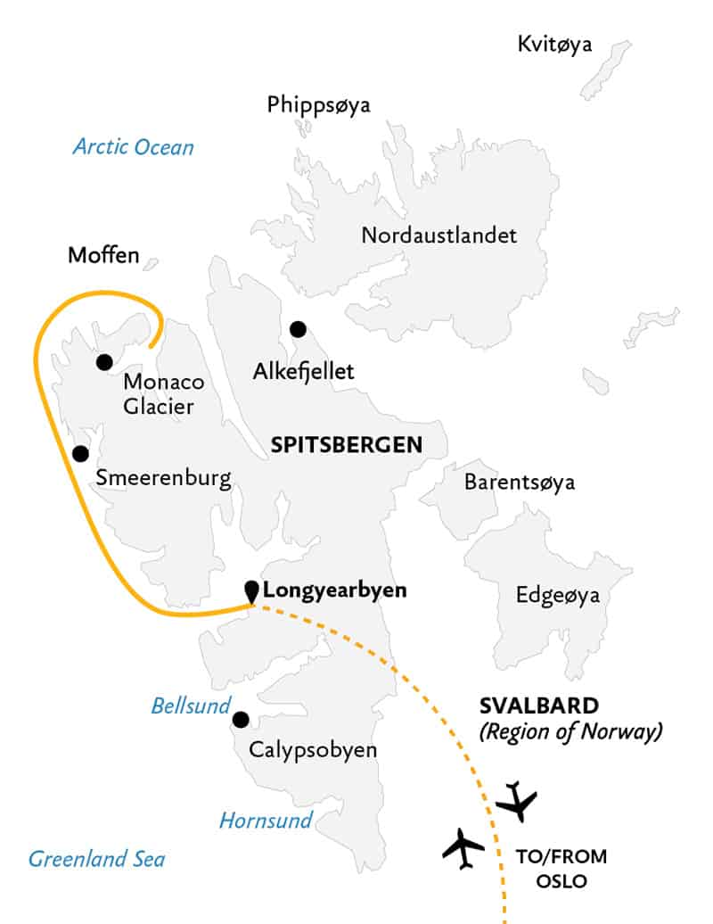 Spitsbergen Highlights: Expedition in Brief cruise route map