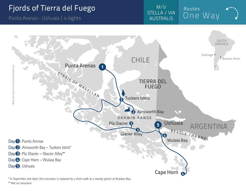 Route map of 5-day Fjords of Tierra del Fuego - Punta Arenas to Ushuaia Patagonia small ship cruise, operating from Punta Arenas, Chile to Ushuaia, Argentina, with visits to Ainsworth Bay & Tuckers Islets, Pia Glacier & Glacier Alley, Cape Horn & Wulaia Bay.