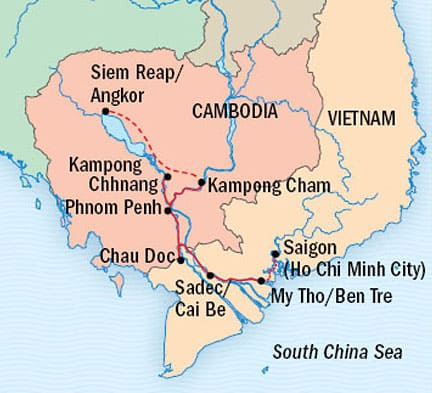 Route map of main & reverse Vietnam & Cambodia: Along The Mekong River, Including Angkor & Saigon Southeast Asia small ship cruise, operating between Siem Reap, Cambodia & Saigon, Vietnam, with visits to Angkor Wat, Kampong Cham, Wat Hanchey or Koh Dach & Angkor Ban, Kampong Chhnang & Kampong Tralach, Phnom Penh, Tan Chau or Chau Doc, Sadec, Cai Be & My Tho.