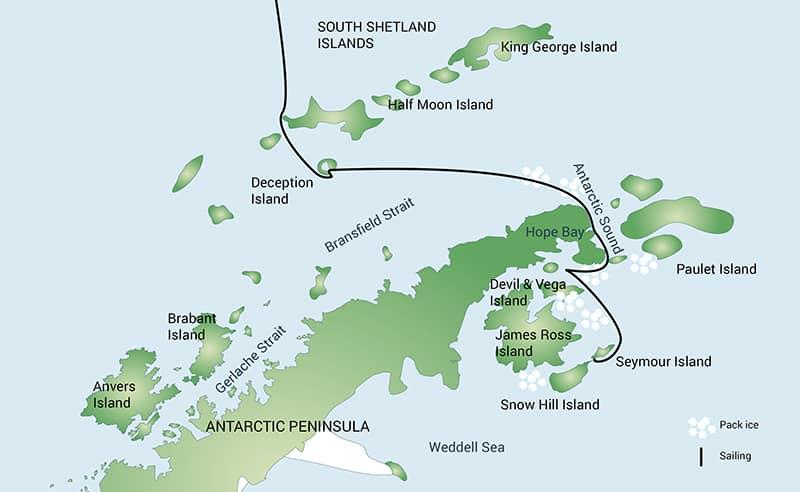 Weddell Sea Emperor Penguin cruise route map.