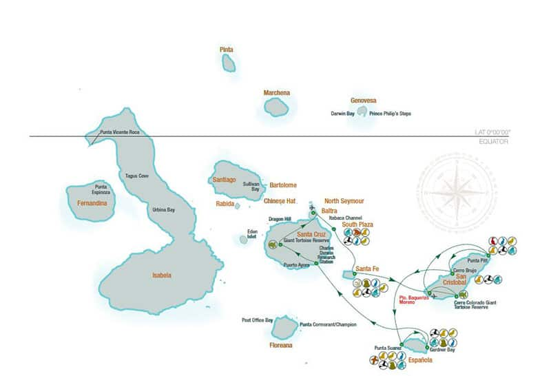 Route map for La Pinta 5-Day East Galapagos Cruise with visits to Baltra,, South Plaza, Santa Fe, San Cristobal, Espanola and Santa Cruz islands.