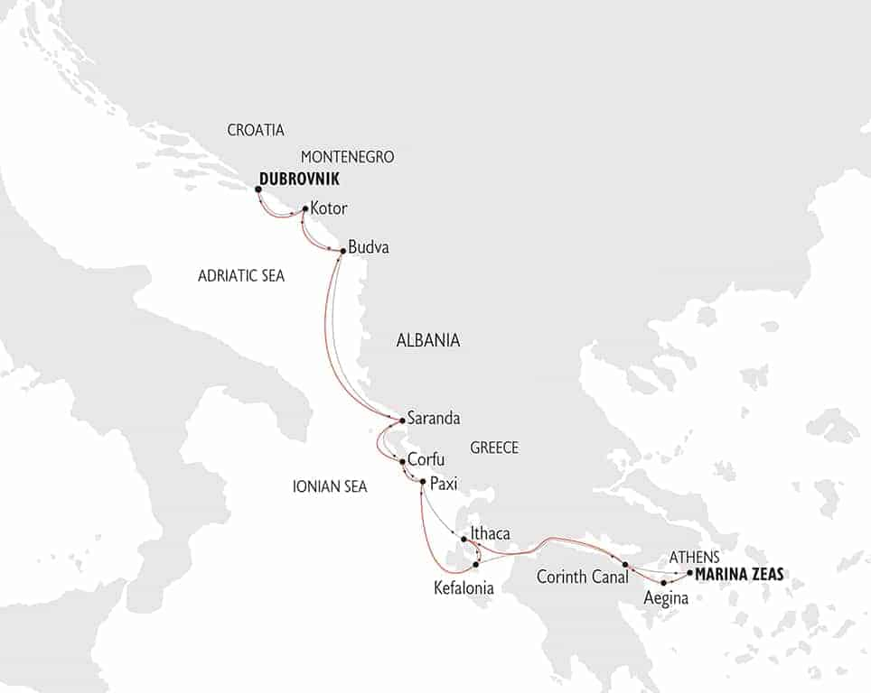 Map in grey tones showing the Adriatic Sea coastline and the route of a small ship cruise sailing from Dubrovnik to Athens shown in red line.
