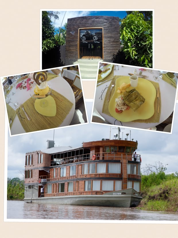 Collage of pictures from the Delfin II small ship Amazon cruise and the meals aboard.