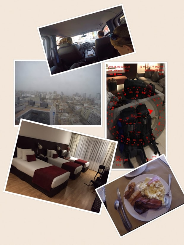 Collage of photos taken in Peru including hotel room beds, view, meal, and luggage.
