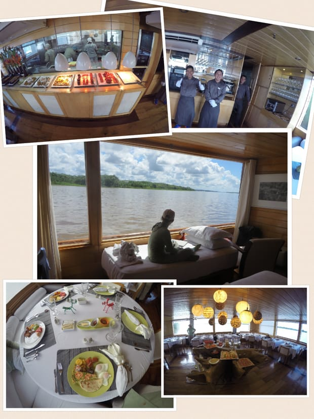 Collage of taken aboard the small ship cruise Delfin II in the Amazon including the buffet, crew, bed next to a window, dining room, and breakfast.