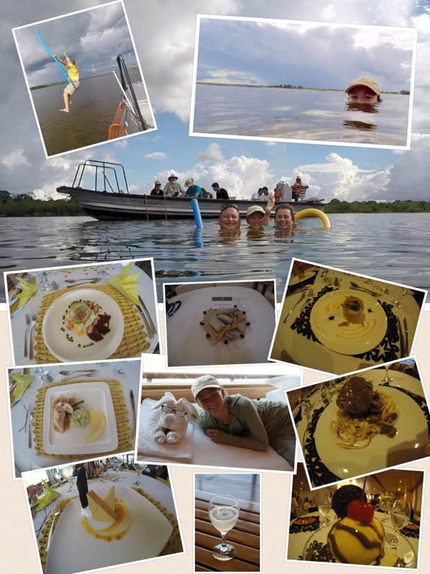 Collage of photos taken aboard a small ship Amazon cruise including meals, towel animals, guests jumping off the boat and swimming.
