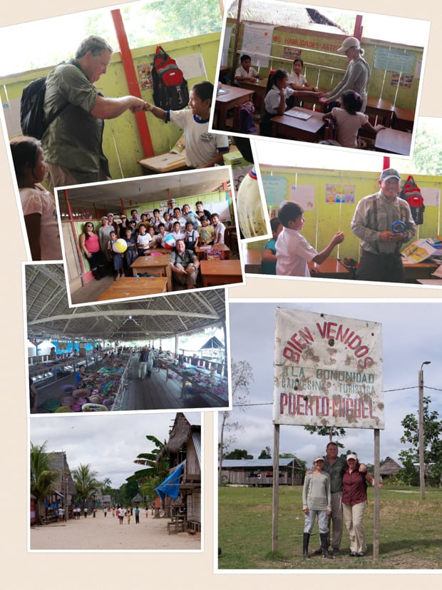 Collage of photos from a small ship cruise in the Amazon meeting local school children in a village.