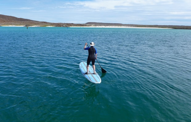 A man stand-up paddleboarding in the teal waters of Baja.