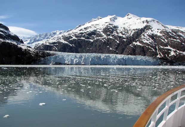 Glacier Bay National Park from the bow of a small ship cruise in Alaska.