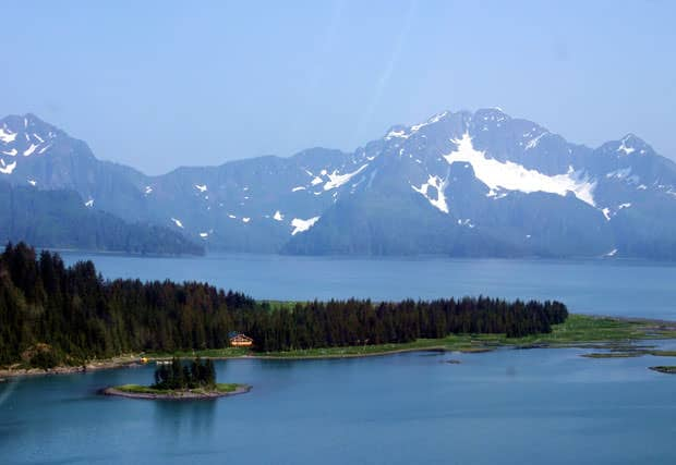 Visiting a remote wilderness lodge in Kenai Fjords National Park by small ship cruise in Alaska.