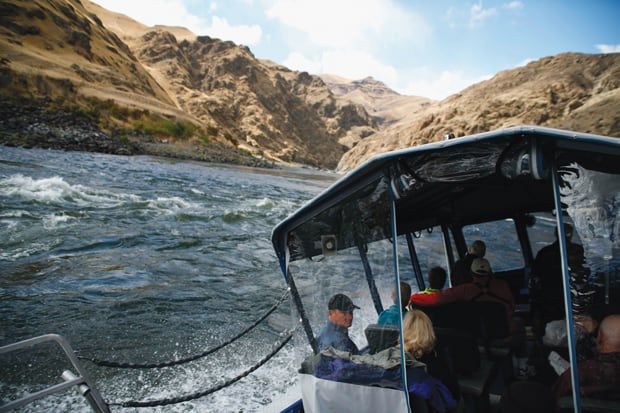 Guests on boat excursion in Columbia and Snake Rivers on a Pacific Northwest river cruise.