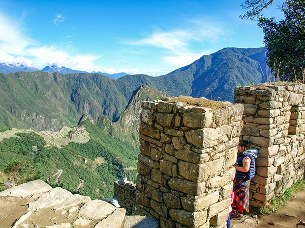 View of the citadel from the Sun Gate at Machu Picchu.