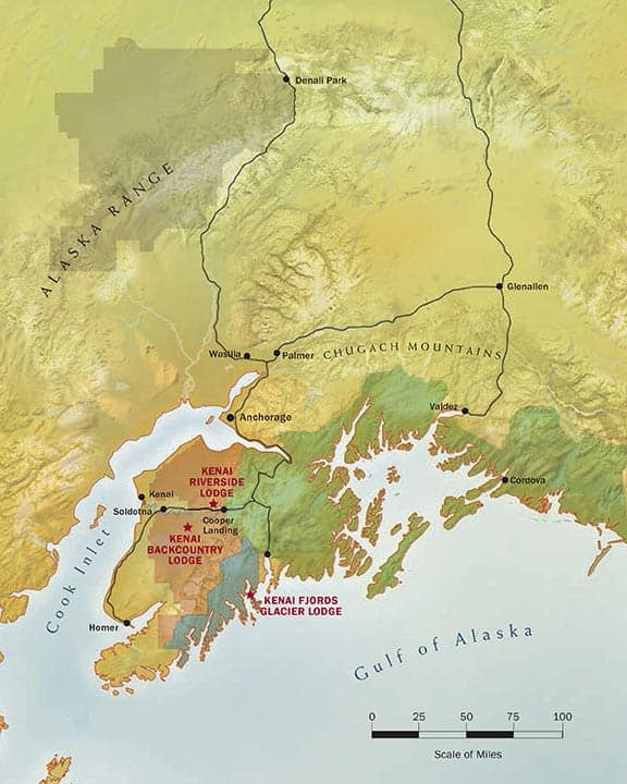 Route map of Alaska Wildland Collection land tour, operating round-trip from Anchorage, with activities in Kenai Fjords National Park including river rafting, Kenai National Wildlife Refuge exploration, Chugach National Forest activities and time spent in Seward.