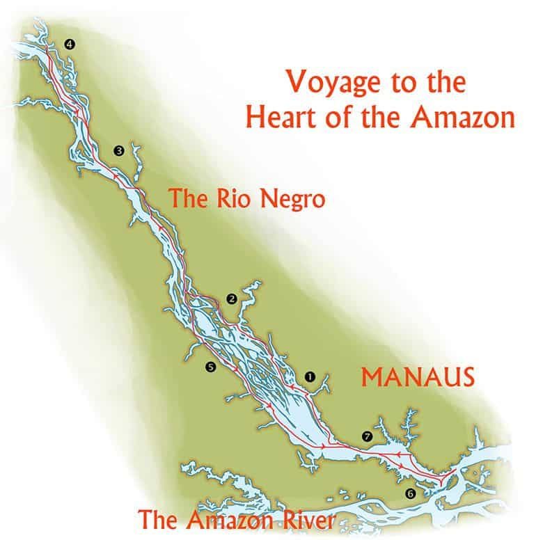 Voyage to the Heart of the Amazon, Brazil Amazon river cruise route map from Manaus up the Rio Negro.