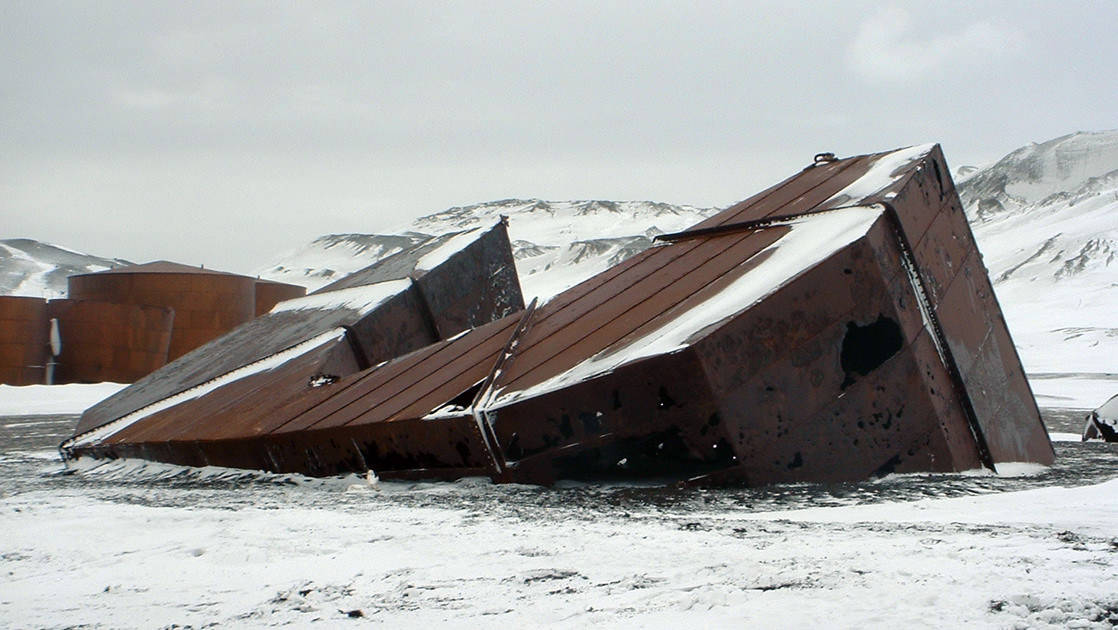 the remains of an old whaling ship on the Antarctic Peninsula Including South Shetland Islands expedition cruise