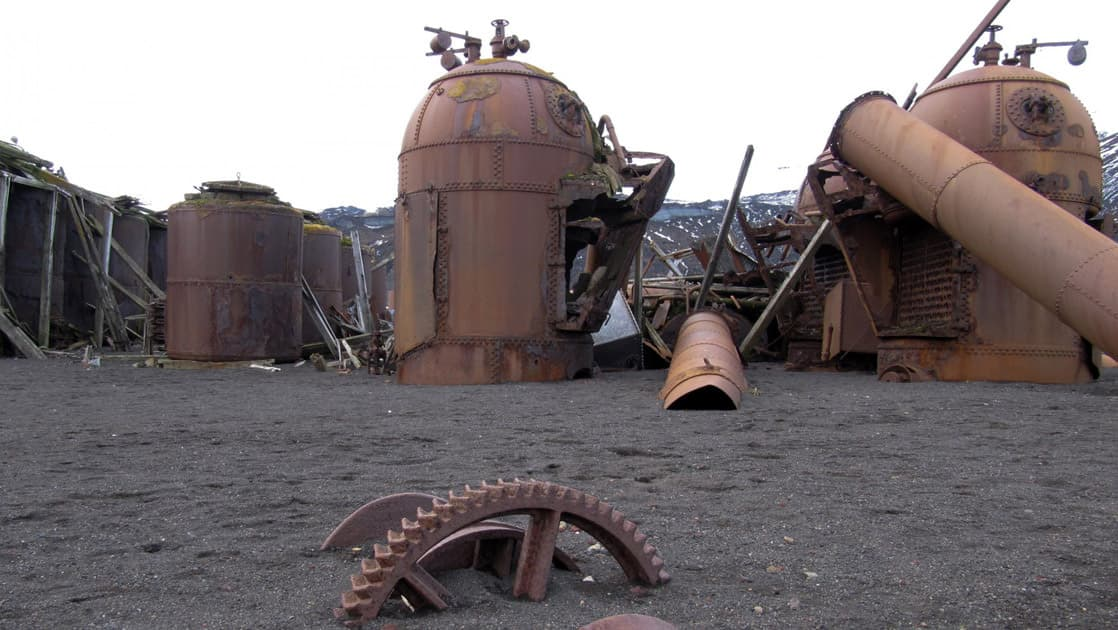 old rusty whaling equipment on the antarctic peninsula