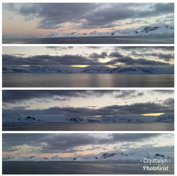 4 panoramic landscape shots of Antarctica with the sun setting.