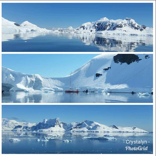 Three landscape photos of the varying snowy mountains in Antarctica with a small cruise ship in the middle.
