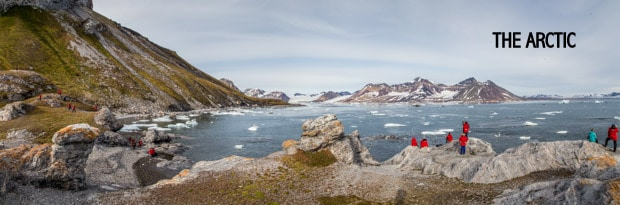 People on a land tour overlooking the Arctic ocean