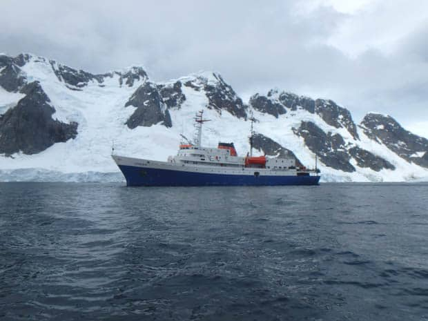 Small expedition cruise ship in Antarctica.