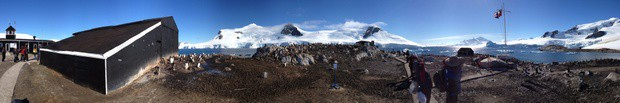 Panoramic of research station in Antarctica